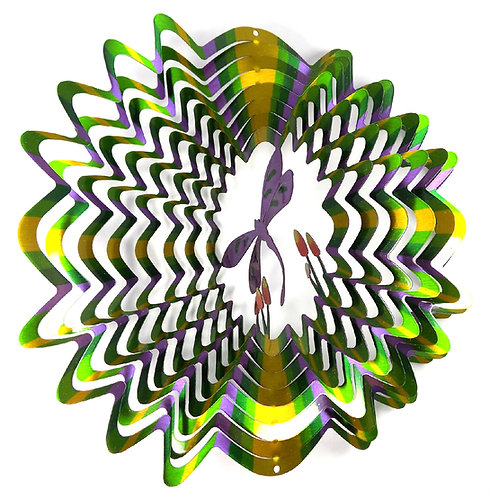 WorldaWhirl 3D Wind Spinner, Dragonfly Multi Green Purple Yellow