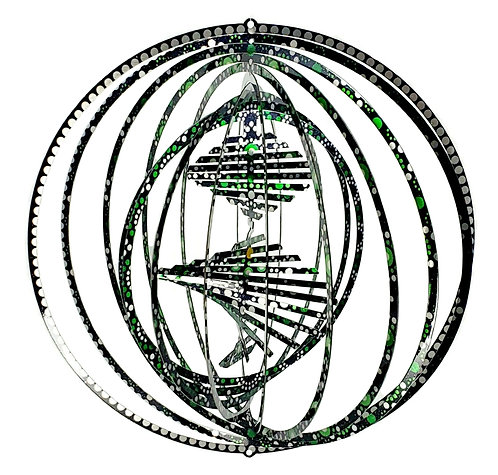 WorldaWhirl 3D Wind Spinner, Helix Combo, Multi Color Green Black