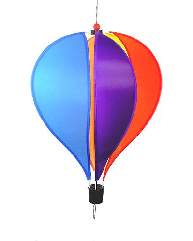 "WorldaWhirl Wind Spinner Hot Air Balloon 6 Color Rainbow PVC 11"" Wide 48"" Tall"