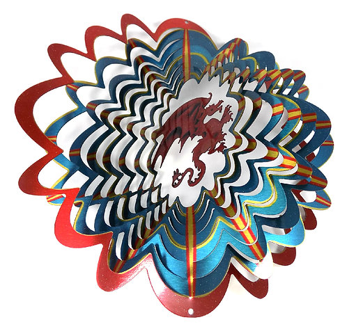 WorldaWhirl 3D Wind Spinner, Dragon Multi Blue Red Yellow