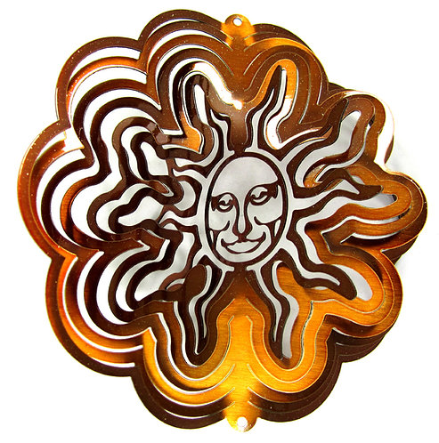 WorldaWhirl Whirligig 3D Wind Spinner Hand Painted Stainless Sun Face Copper