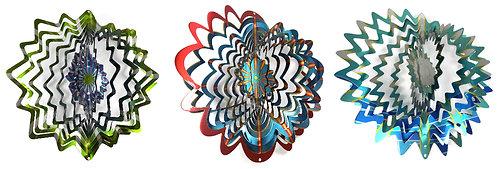 WorldaWhirl 3D Wind Spinner Bundle, 3 Multi Color Stars