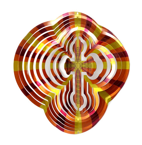 WorldaWhirl 3D Wind Spinner, Cross, Multi Amber