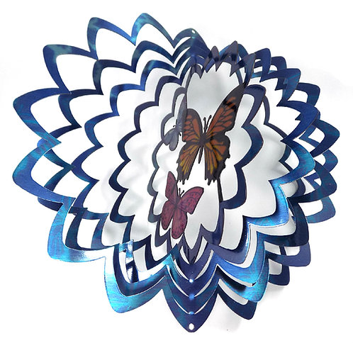 WorldaWhirl 3D Wind Spinner, Butterfly Trio Multi Blue