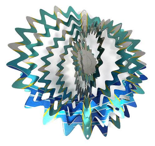 WorldaWhirl 3D Wind Spinner, Star Mandala Splash, Multi Blue Teal Silver