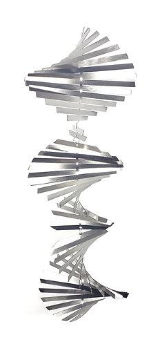 WorldaWhirl 3D Helix Wind Spinner, Silver