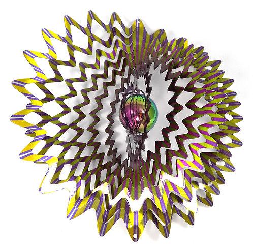 WorldaWhirl 3D Wind Spinner, Gazing Ball Star Mandala Splash, Multi Color