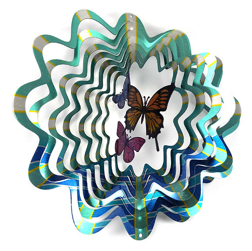 WorldaWhirl 3D Wind Spinner, Butterfly Multi Blue Teal Silver