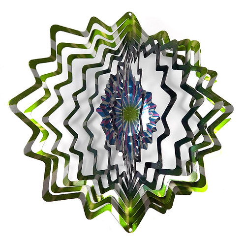 WorldaWhirl 3D Wind Spinner, Star Mandala Splash, Multi Color Green Teal Silver
