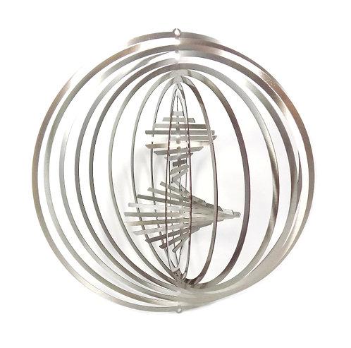 WorldaWhirl 3D Wind Spinner, Helix Combo, Silver