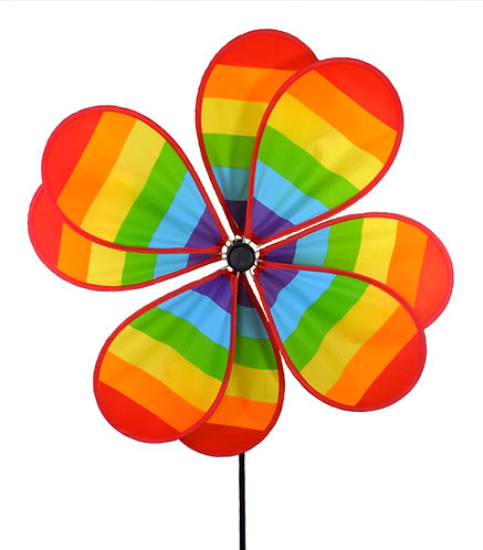 "WorldaWhirl Wind Spinner Polyester Flower Multi Color 8 Petals 20"" Wide 37"" Tall"