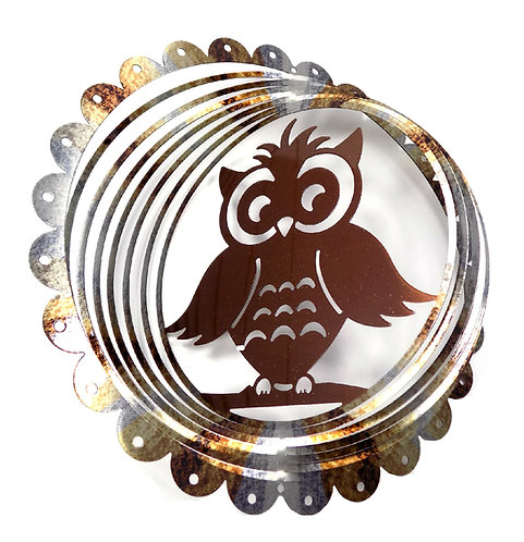WorldaWhirl 3D Wind Spinner, Owl Multi Rustic