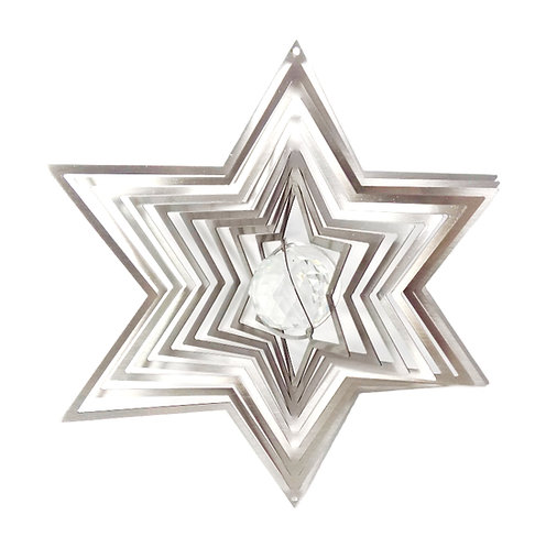 WorldaWhirl 3D Wind Spinner, Crystal Star Six Point, Silver