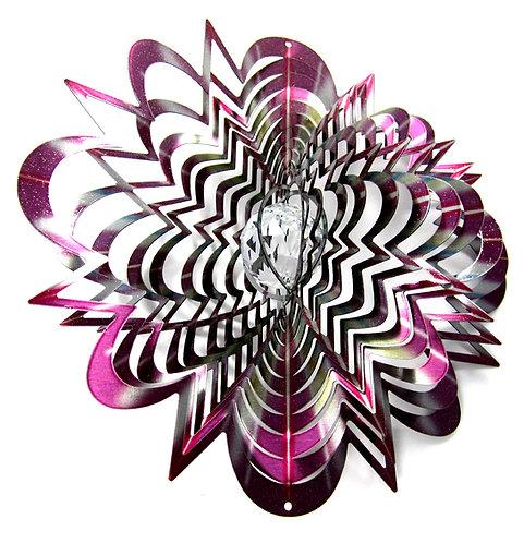 WorldaWhirl Whirligig 3D Wind Spinner Star Mandala, Multi Color Purple Silver SS