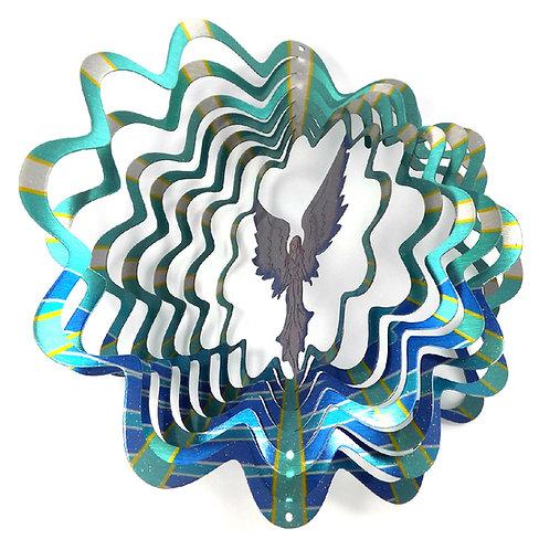 WorldaWhirl 3D Wind Spinner, Angel Multi Blue Teal Silver