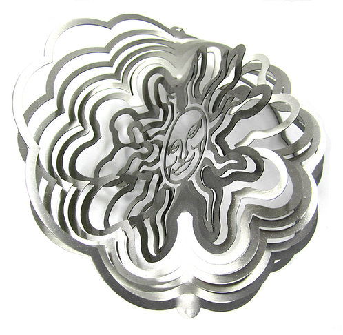 WorldaWhirl Whirligig 3D Wind Spinner Hand Painted Stainless Sun Face Silver