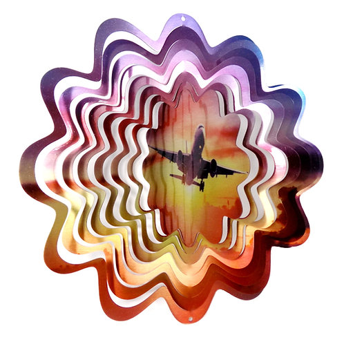 WorldaWhirl 3D Wind Spinner, Airplane Horizon, Multi