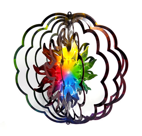 WorldaWhirl 3D Wind Spinner, Mandala Sun Burst, Multi Rainbow
