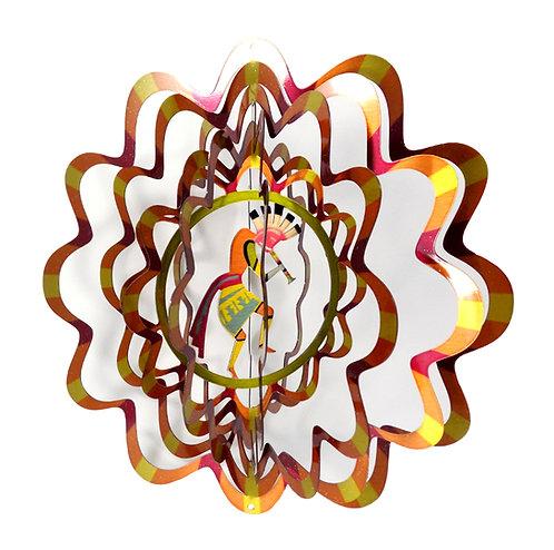 WorldaWhirl 3D Wind Spinner, Kokopelli Multi Amber