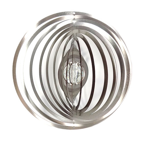 WorldaWhirl 3D Wind Spinner, Crystal Circle, Silver