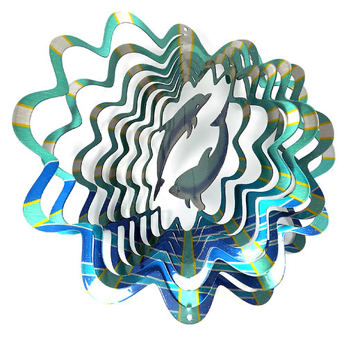 WorldaWhirl 3D Wind Spinner, Dolphin Multi Blue Teal Silver