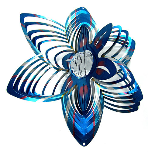 WorldaWhirl Whirligig 3D Wind Spinner Hand Painted Stainless Crystal Flower Blue