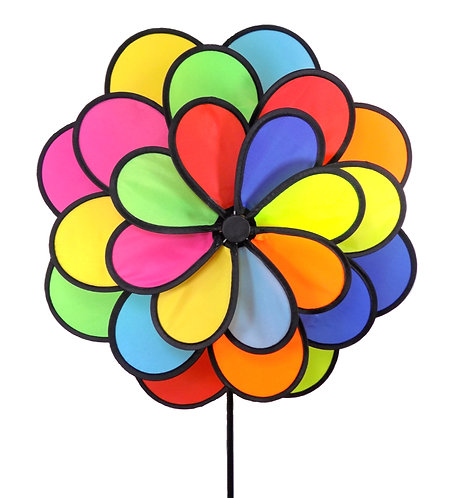 "WorldaWhirl Wind Spinner Polyester Flower 3 Wheel, 24 Petal, 20"" Wide, 37"" Tall"