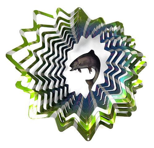 WorldaWhirl 3D Wind Spinner, Trout Fish Multi Green Teal Silver