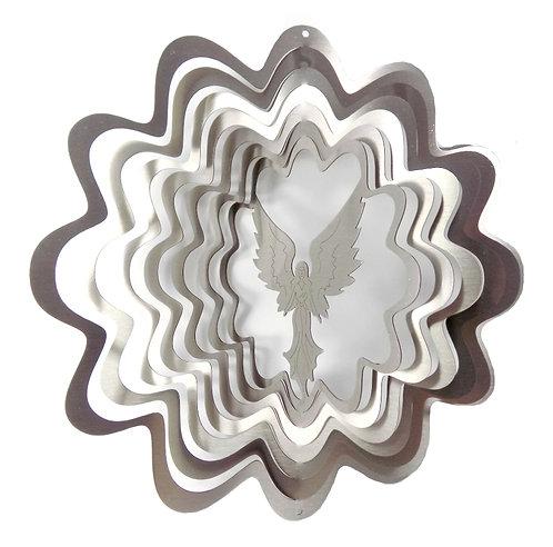 WorldaWhirl Whirligig 3D Wind Spinner Stainless Steel Twister Angel Silver