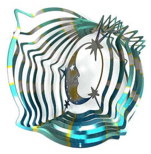 WorldaWhirl 3D Wind Spinner, Moon Face Multi Blue Teal Silver