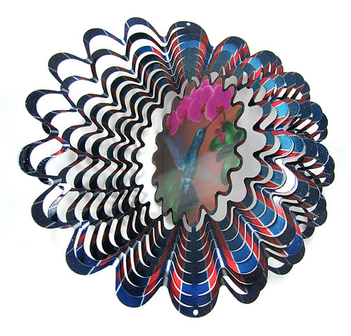 WorldaWhirl 3D Wind Spinner, Hummingbird Animated Holographic, Multi Color Blue