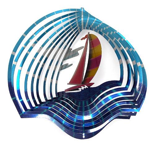 WorldaWhirl 3D Wind Spinner, Sailboat Multi Blue Teal