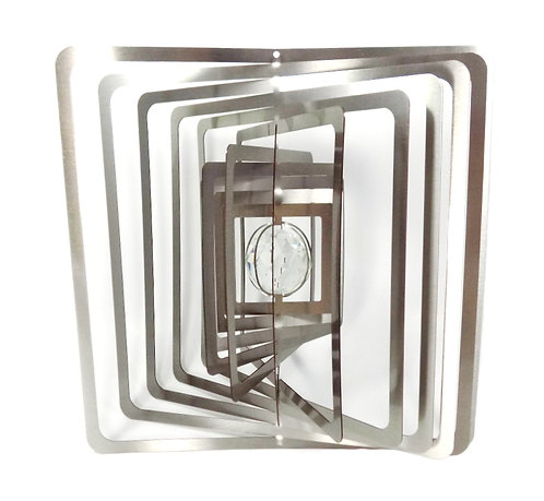 WorldaWhirl 3D Wind Spinner, Crystal Square, Silver