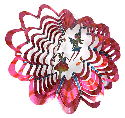 WorldaWhirl 3D Wind Spinner, Fairy Mushroom Multi Pink Red Blue