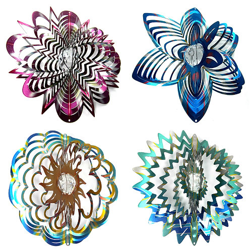 WorldaWhirl 3D Wind Spinner Bundle, 4 Crystal Spinners