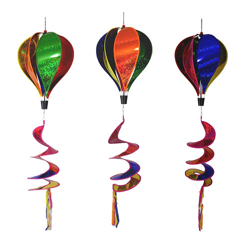 "WorldaWhirl Wind Spinner Hot Air Balloon 6 Color Sparkle PVC 11.5"" Wide 45"" Tall"