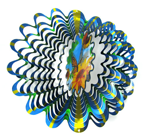 WorldaWhirl 3D Wind Spinner Butterfly Animated Holographic Multi Blue Green Yel.