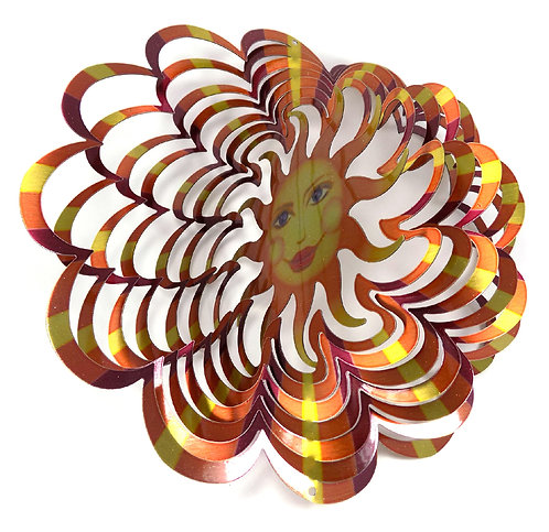 WorldaWhirl 3D Wind Spinner, Sun Face Multi Amber