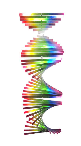 WorldaWhirl  3D Helix Wind Spinner, Multi Rainbow