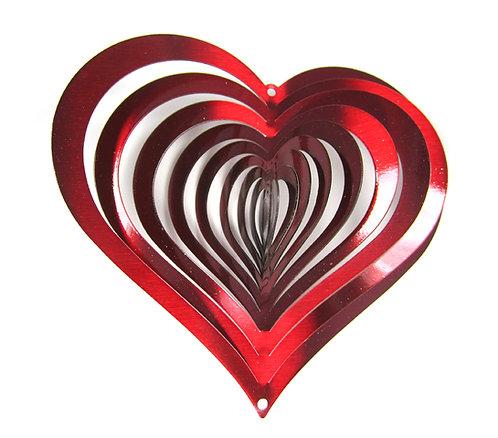 WorldaWhirl 3D Wind Spinner, Heart Red