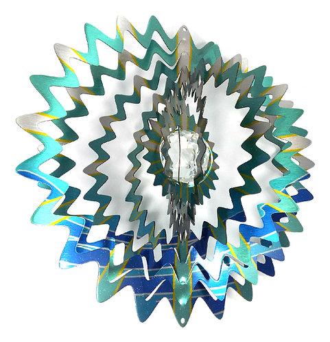 WorldaWhirl 3D Wind Spinner, Crystal Mandala Star, Multi Blue Teal Silver