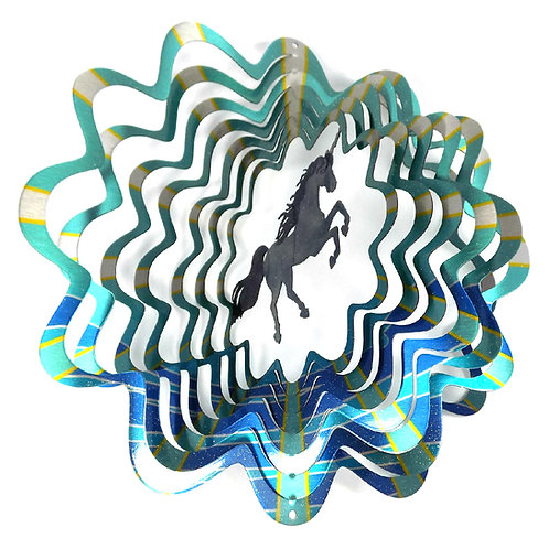 WorldaWhirl 3D Wind Spinner, Unicorn Multi Blue Teal Silver