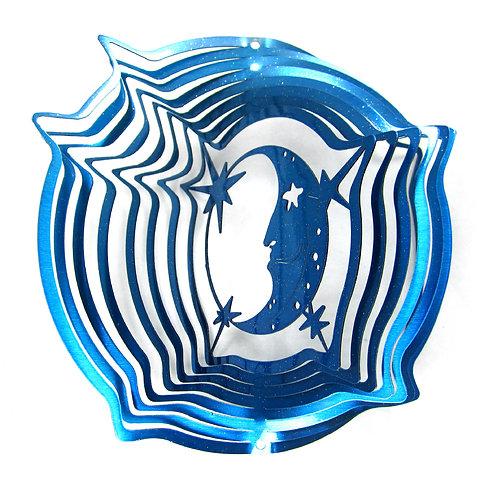 WorldaWhirl 3D Wind Spinner, Moon Face Blue