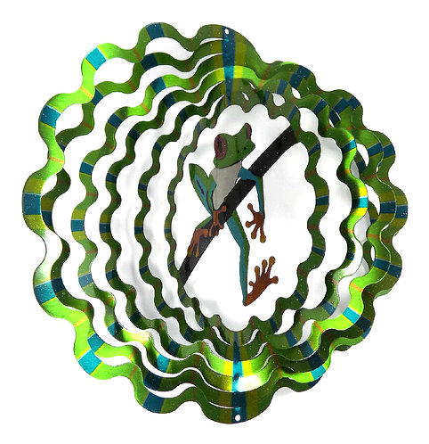 WorldaWhirl 3D Wind Spinner, Tree Frog Multi Green