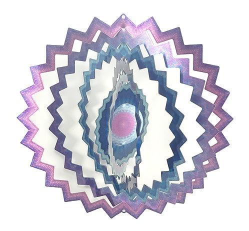 WorldaWhirl 3D Wind Spinner, Mandala Star, Multi Color Lavender Purple Blue