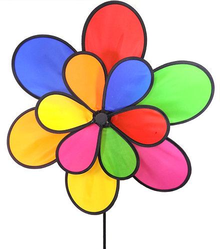 "WorldaWhirl Wind Spinner Polyester Flower 2 Wheel, 12 Petal, 20"" Wide, 37"" Tall"