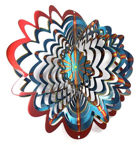 WorldaWhirl 3D Wind Spinner, Star Mandala Splash, Multi Color Blue Red Yellow