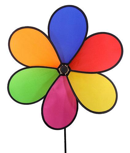 "WorldaWhirl Wind Spinner Polyester Flower 6 Petal, 20"" Wide, 37"" Tall Yard Decor"