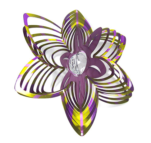 WorldaWhirl Whirligig 3D Wind Spinner Hand Paint Stainless Crystal Flower Violet