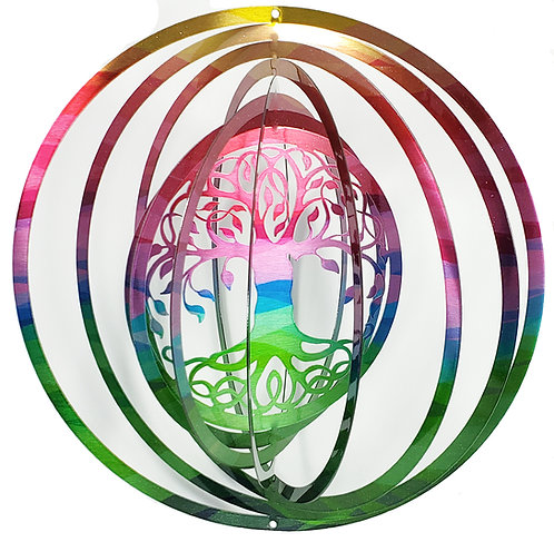 WorldaWhirl 3D Wind Spinner, Tree of Life, Multi Color
